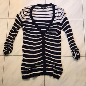 Express Navy and White Striped Cardigan